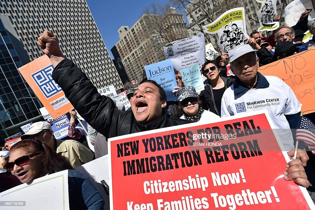 A coalition of New York area groups rally to call on Congress to move on immigration reform in Foley Square April 10, 2014 in New York. AFP PHOTO/Stan HONDA