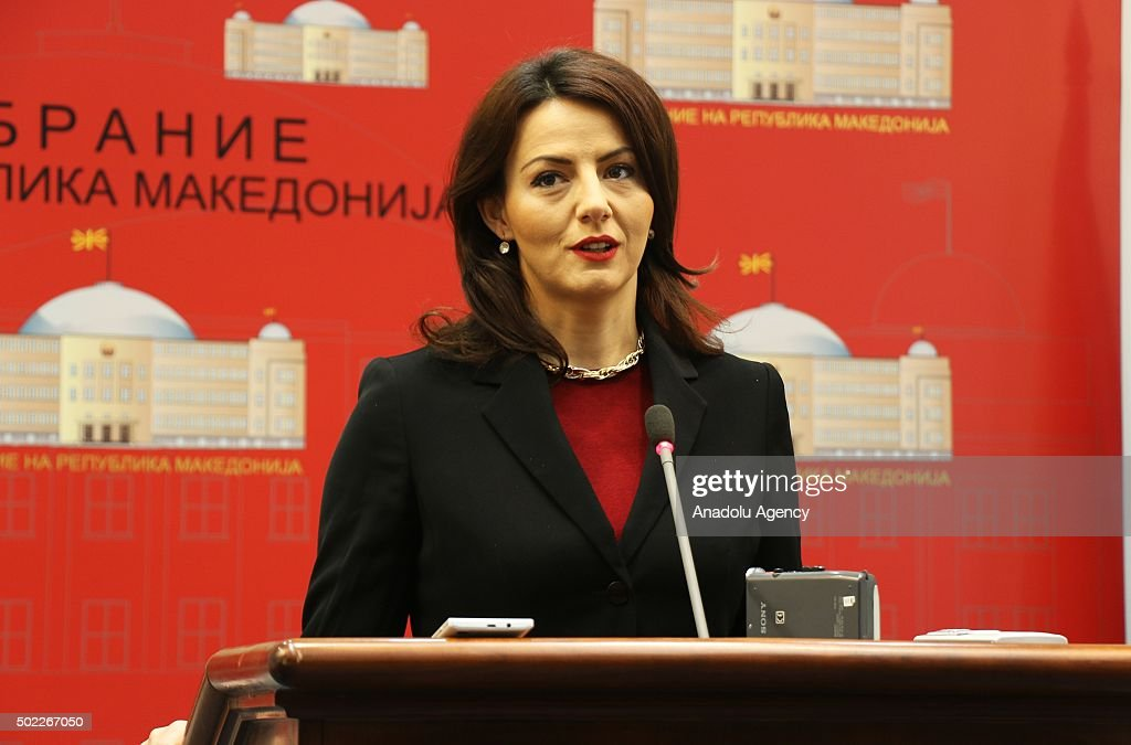 Coalition partner BDI spokesperson Ermira Mehmeti addresses media during a press conference after annual ordinary consideration meeting at the...