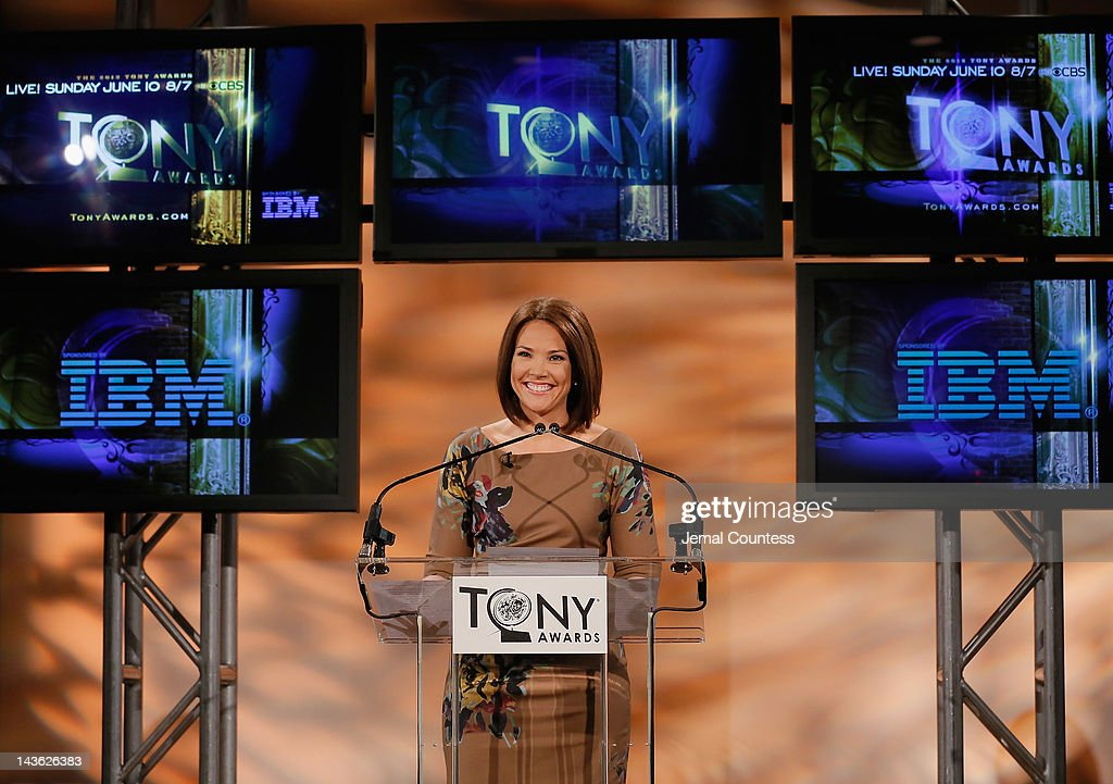 Co-Anchor of CBS This Morning, Erica Hill speaks at the 2012 Tony Awards Nominations Announcement at The New York Public Library for Performing Arts on May 1, 2012 in New York City.