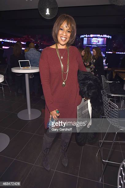Coanchor of CBS This Morning Gayle King enjoys NBA AllStar Saturday Night from The Centurion Suite by American Express at Barclays Center on February...