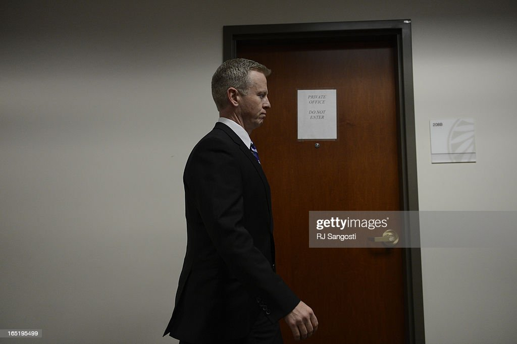 District Attorney George Brauchler heads back into district court for a hearing in the case of Aurora theater shooting suspect James Holmes in Centennial, Monday April 01, 2013. The prosecution will go for the death penalty against the Aurora theater shooting suspect James Holmes.