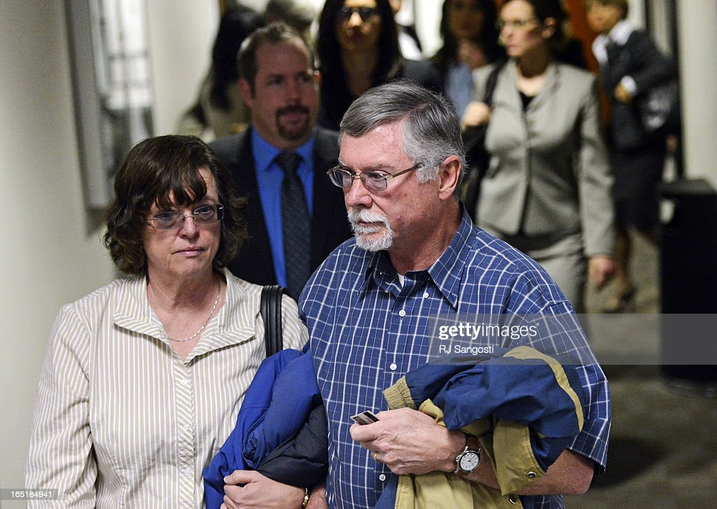 Parents Arlene and Robert Holmes, of Aurora theater shooting suspect James Holmes, arrive at court, Monday April 01, 2013. The prosecution will go for the death penalty against the Aurora theater shooting suspect James Holmes.