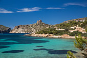 Coast and sea with distant view of castle, Cabrera National Park, Cabrera, Balearic Islands, Spain