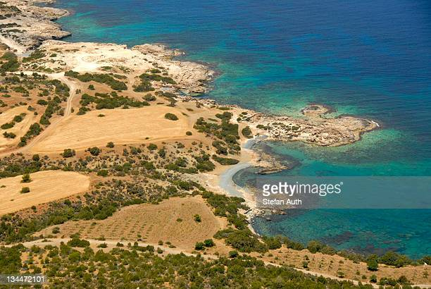 Coast, cliffs, rocks, blue sea, view from Mount Moutti tis Sotiras, Baths of Aphrodite, Akamas, Southern Cyprus, Republic of Cyprus, Mediterranean Sea, Europe