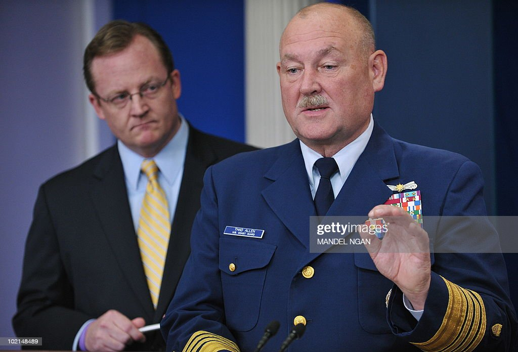 US Coast Guard Admiral Thad Allen, incident commander for the BP oil spill, speaks as White House Press Secretary Robert Gibbs (L) looks on June 16, 2010 during a briefing in the Brady Briefing Room of the White House in Washington, DC. AFP PHOTO/Mandel NGAN