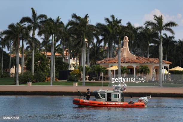 Coast Guard boat is seen patrolling in front of the MaraLago Resort where President Donald Trump is staying for the weekend on February 5 2017 in...