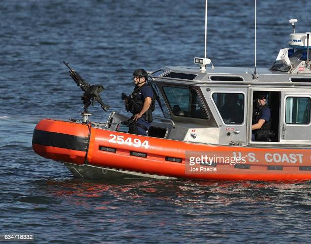 S Coast Guard boat patrols the Intracoastal Waterway near MaraLago Resort where President Donald Trump is hosting Japanese Prime Minister Shinzo Abe...