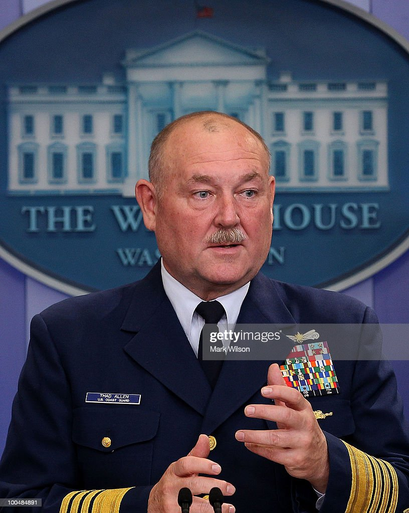 US Coast Guard Commandant Thad Allen participates in a briefing with Press Secretary Robert Gibbs at the White House on May 24, 2010 in Washington, DC. Commandant Allen and Secretary Gibbs briefed reporters on the current situation with the BP oil leak in the Gulf of Mexico caused the explosion and destruction of the oil rig Deepwater Horizon.