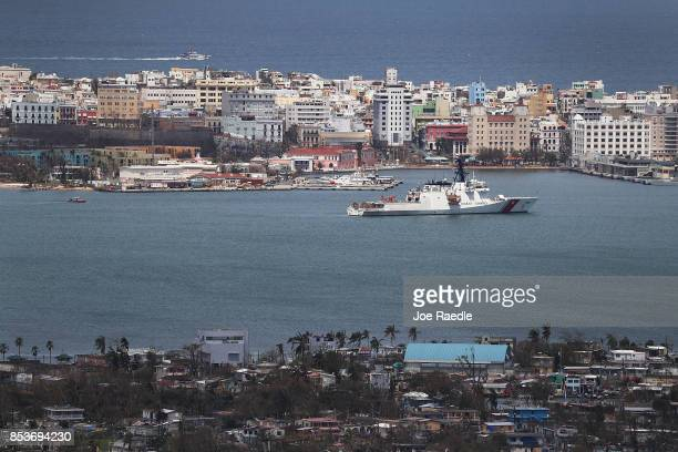 S Coast Guard cutter is seen in port as people deal with the aftermath of Hurricane Maria on September 25 2017 in San Juan Puerto Rico Maria left...