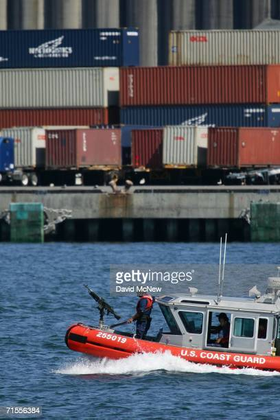 S Coast Guard gunboat patrols the waters near where a news conference was being held by California Gov Arnold Schwarzenegger and British Prime...