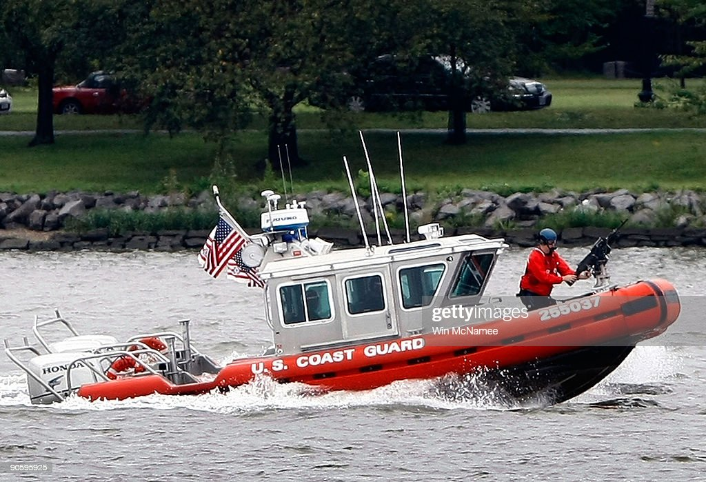 S Coast Guard patrol boats conduct a training exercise on the Potomac River September 11 2009 in Washington DC The training exercise caused false...