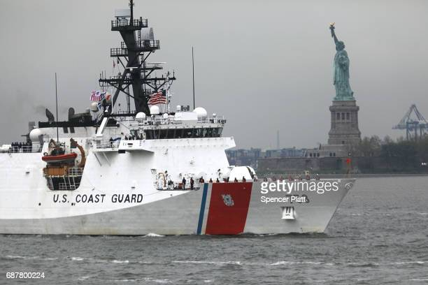 Coast Guard ship makes its way past the Statue of Liberty on the opening day of Fleet Week on May 24 2017 in New York City Now in its 29th year Fleet...