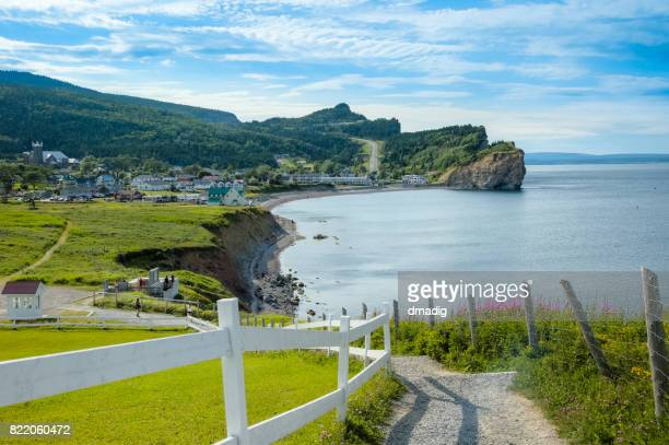 Coast of  Gaspe Peninsula at Perce, Quebec, Canada with blue waters of the Gulf of St. Lawrence