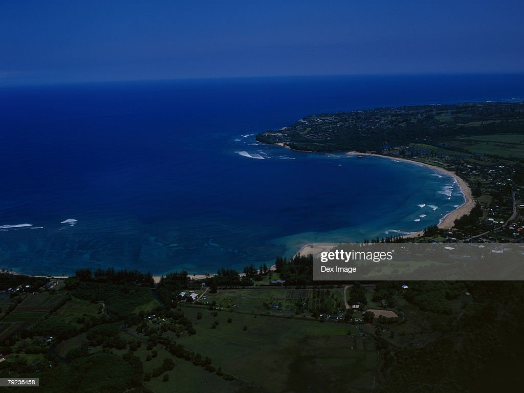 Coast of Kauai, Hawaii, aerial view : Stock Photo
