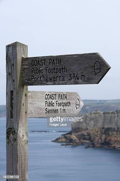 Coast Path public footpath sign post
