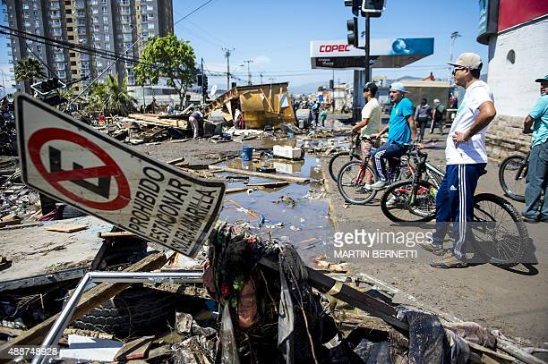 A coastal area ravaged by the sea in Coquimbo some 445 km north of Santiago during the eve's earthquake on September 17 2015 A million people were...