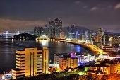 Coastal cityscape at night