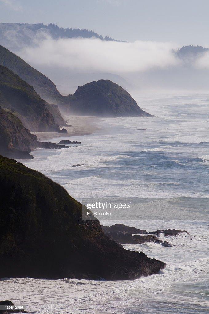 Coastal Fog. Just south of Cannon Beach, most distant point is Cape Falcon. Oregon Coast, USA