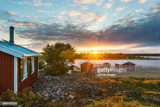 Coastal houses at sunset