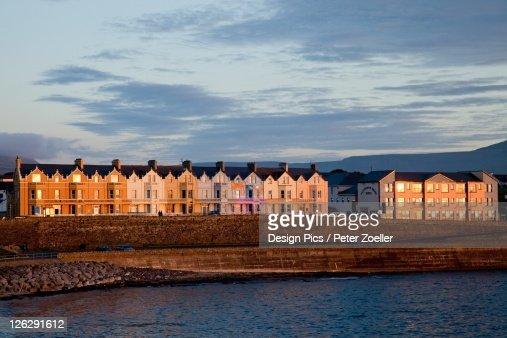 Coastal Irish Town At Sunset
