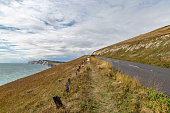 Looking along The Military Road on the Isle of Wight, towards Tennyson Down and Freshwater Bay