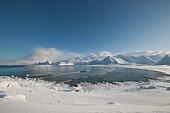 Coastal landscape of Moskensoy in the Loftofen archipelago,  Norway