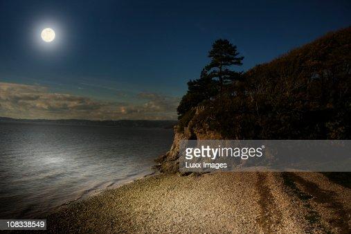 Coastal scene by moonlight : Stock Photo