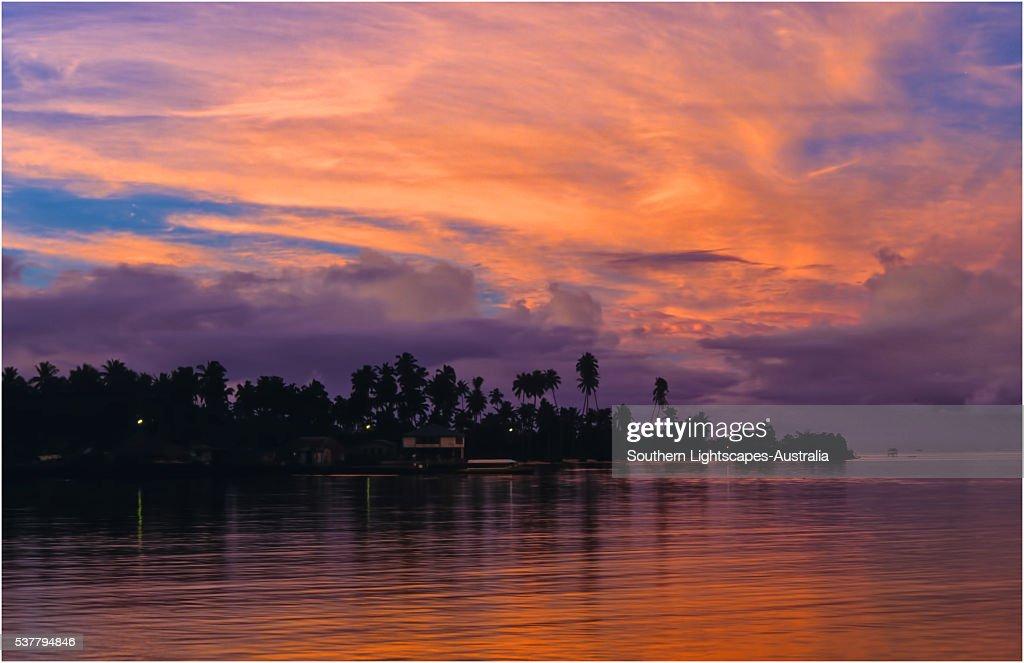 Coastal twilight on The Island of Upolu, Western Samoa.