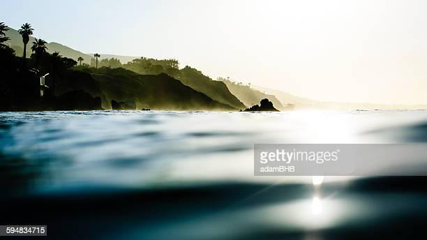 Coastal view from sea, Malibu, California, USA
