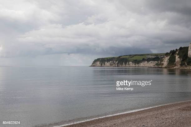 Coastal view of the sea in Seaton in Devon England United Kingdom Seaton is a small seaside town in East Devon on the south coast of England