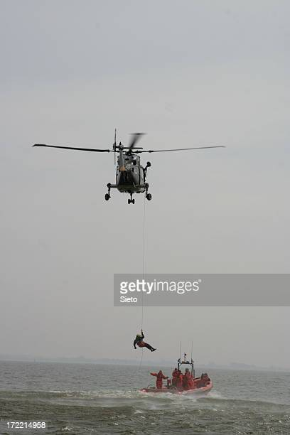 Coastguard performing SAR operation at sea
