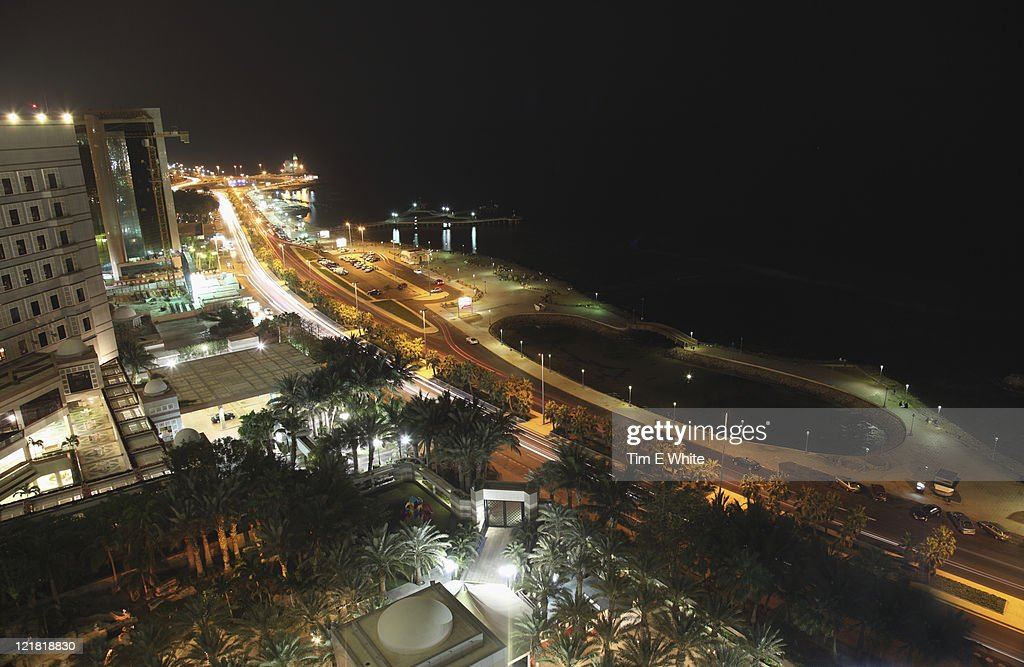 Coastline at night Jeddah, Saudi Arabia