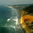 A coastline near Torrey Pines clear of smoke from the San Diego Fires is seen in this aerial view October 30 2003 in San Diego California