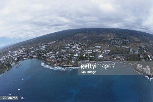 Coastline of Big Island, Hawaii, fisheye view : Stock Photo