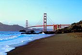 Coastline of California with Golden Gate Bridge