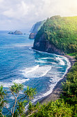 Coastline of the Hawaiian island, rock, ocean