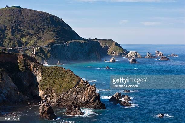 Coastline with bridge, Rocky Creek Bridge, Highway 1, California, USA, Pacific Ocean