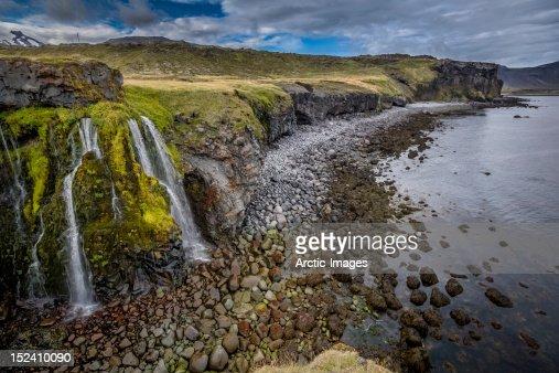 Coastline with waterfalls : Stock Photo