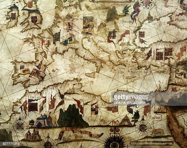 Coasts of Europe and North Africa detail from Portolano atlas by Diego Homen Portugal 16th century Venice Museo Storico Navale