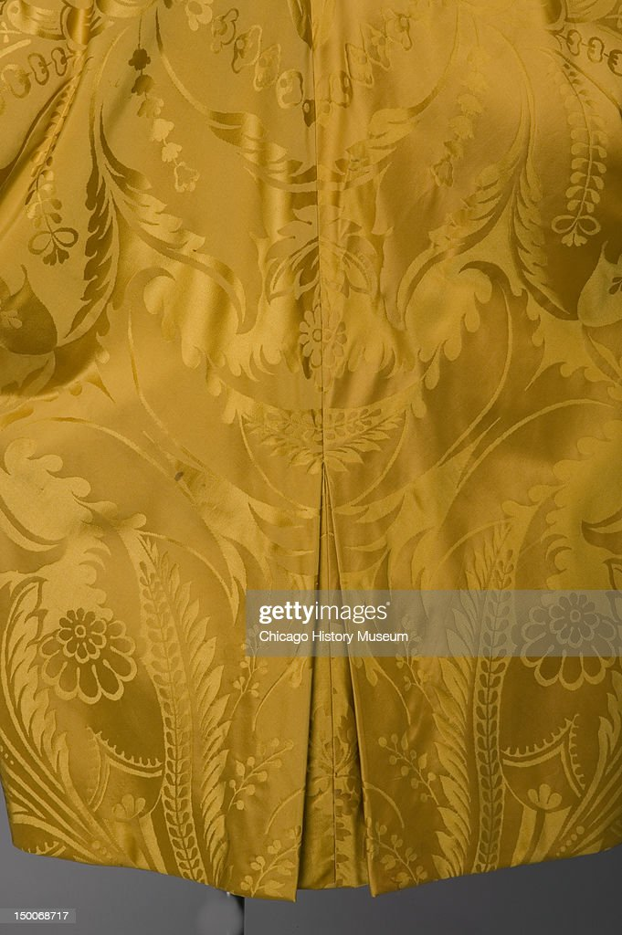 Coat 1958 Silk damask by Charles James worn by donor Mrs Eugene S Davidson