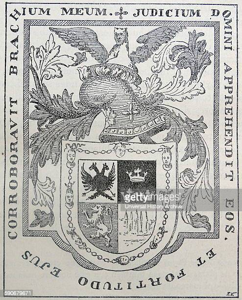Coat of arms belonging to Hernando Cortes Spanish Conquistador who led an expedition that caused the fall of the Aztec Empire and brought large...