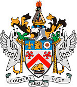 Coat of arms of the Federation of Saint Kitts and Nevis in the Caribbean