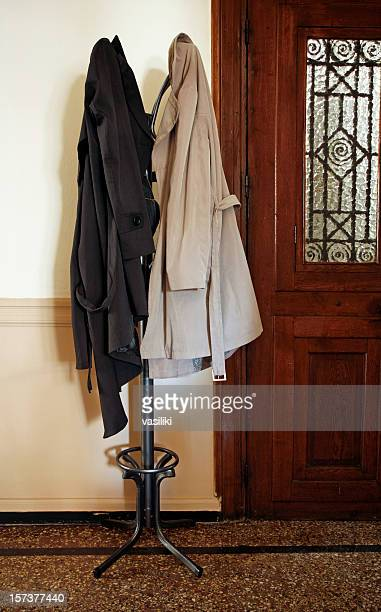 Coat rack with overcoats