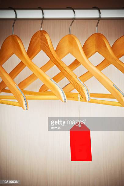 Coathangers on a Clothes Rail with Empty Tag