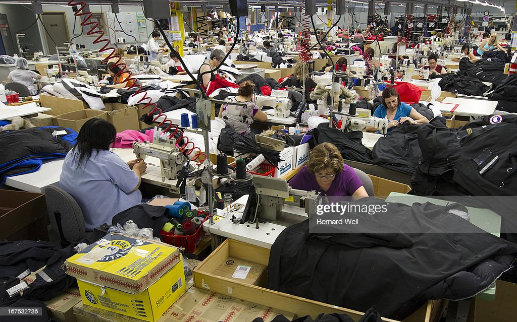 Coats are sewn together at the main Canada Goose factory Toronto