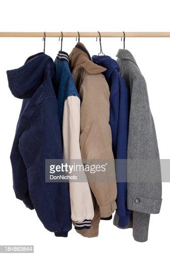 Coats Hanging on Rack
