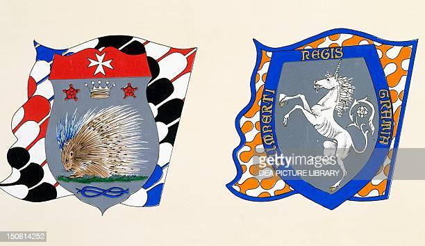 Coats of arms for the Palio of Siena for the Istrice soverign contrada and Leocorno nobile contrade Heraldry Italy