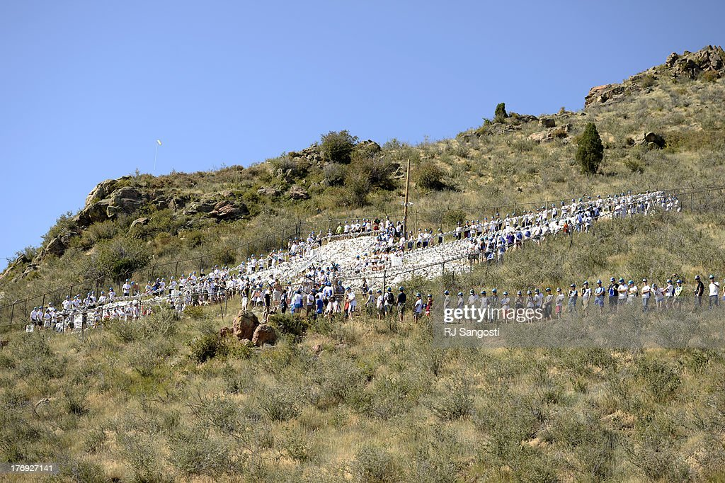 Freshmen at Colorado School of Mines class of 2017 haul 10pound rocks up to the university's iconic mountainside M on Mt Zion August 19 2013 The...