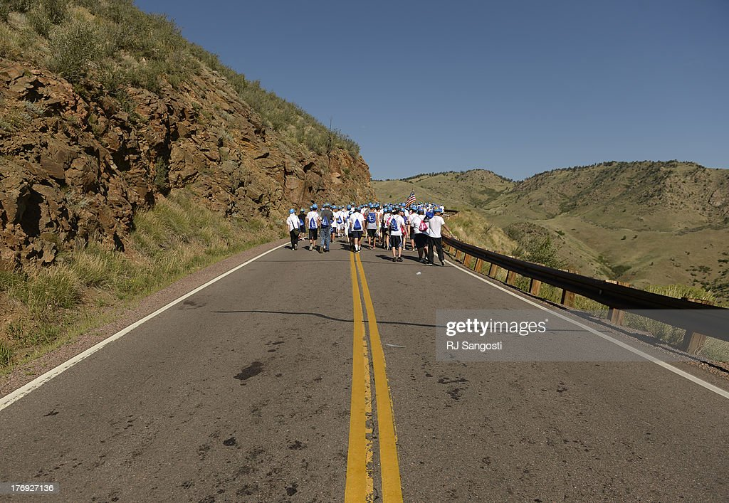 Freshmen at Colorado School of Mines make their way up to the university's iconic mountainside M on Mt Zion August 19 2013 The students will give the...