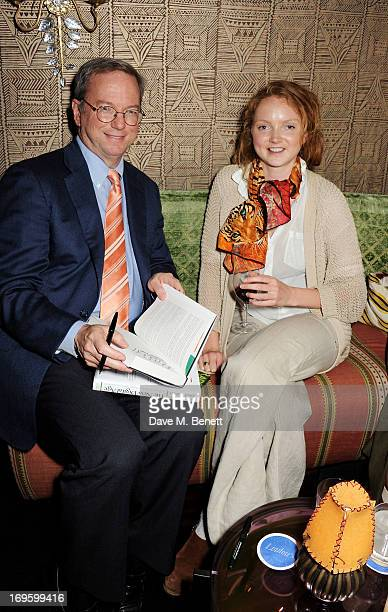 CoAuthor and Executive Chairman of Google Eric Schmidt and Lily Cole attend the launch of 'The New Digital Age Reshaping The Future Of People Nations...